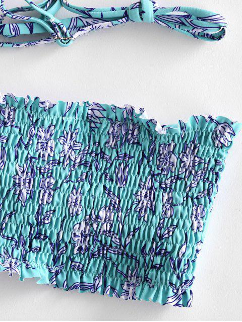 fancy ZAFUL Floral Smocked High Cut Bandeau Bikini Swimsuit - CELESTE L Mobile