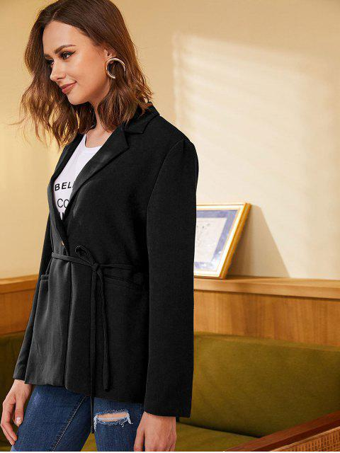 buy ZAFUL One Button Belted Solid Blazer - BLACK XL Mobile