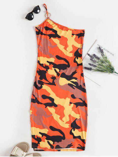Robe Fendue Camouflage à Une Epaule - Orange XL Mobile