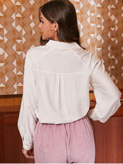 buy ZAFUL Button Up Faux Pockets Solid Shirt - WHITE S Mobile