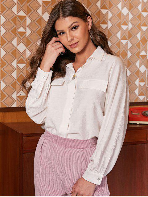 women ZAFUL Button Up Faux Pockets Solid Shirt - WHITE M Mobile
