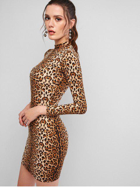 Manga larga del leopardo del tigre Mini Vestido ajustado - Multicolor-A M Mobile