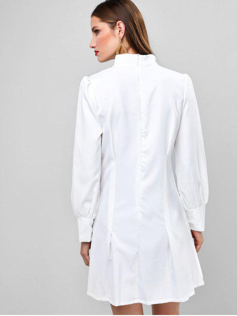 hot Long Sleeve Ruched High Neck Mini Dress - WHITE M Mobile