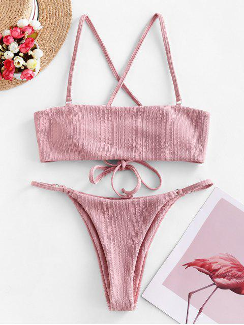 ladies ZAFUL Lace Up Ribbed Textured String Bikini Swimsuit - ROSE L Mobile