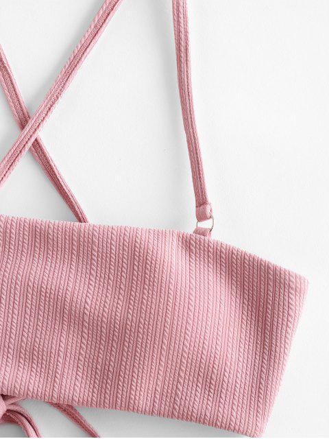 ZAFUL Bikini Acanalado de Cadena con Encaje Texturizado - Rosa M Mobile