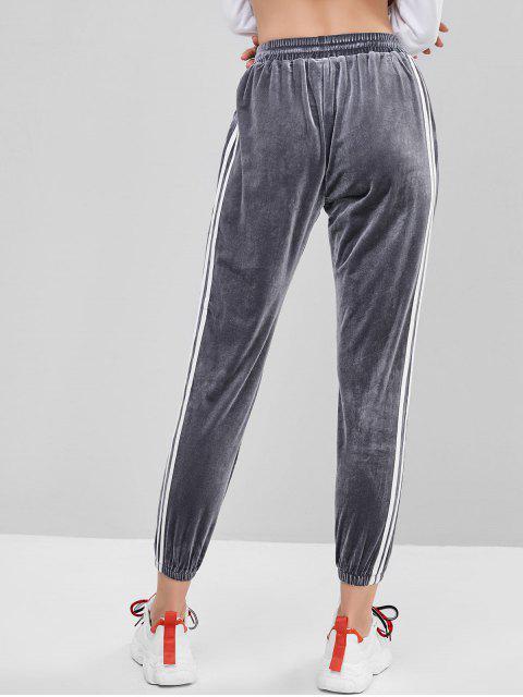 サイド ストライプ ベルベット 巾着 ジョガーパンツ - グレー L Mobile