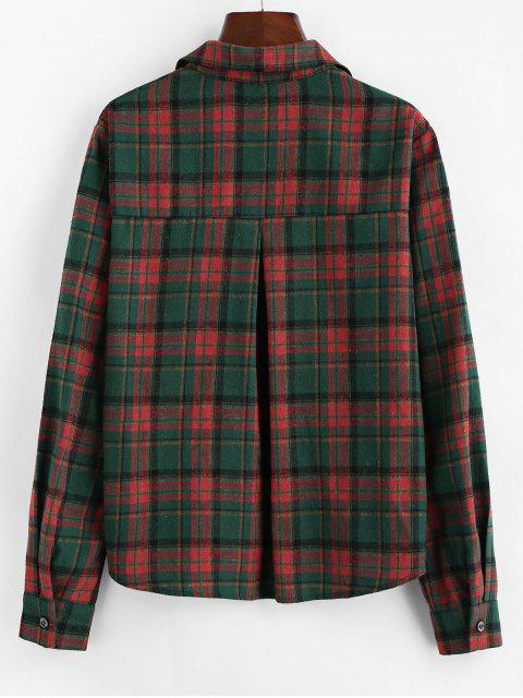 outfit ZAFUL Plaid Chest Pocket Curved Button Up Shirt - MULTI S Mobile