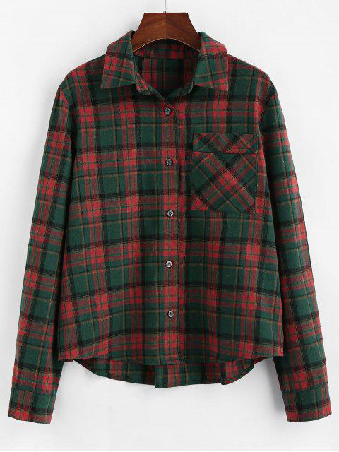 hot ZAFUL Plaid Chest Pocket Curved Button Up Shirt - MULTI XL Mobile