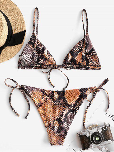 ZAFUL Maillot de Bain Bikini Noué Serpent Imprimé à Corde - Multi-A S Mobile