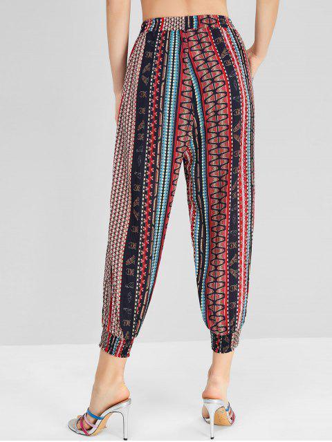 Pantalones borlas impreso bohemio del basculador - Multicolor-A S Mobile