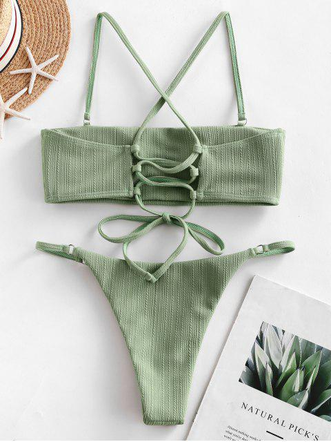 shops ZAFUL Lace Up Ribbed Textured String Bikini Swimsuit - LIGHT GREEN S Mobile