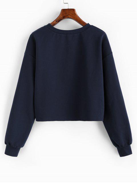ZAFUL Carta estrella gota camiseta de la cosecha del hombro - Cadetblue S Mobile