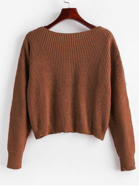 online Drop Shoulder V Neck Crop Chenille Sweater - CHESTNUT XL Mobile