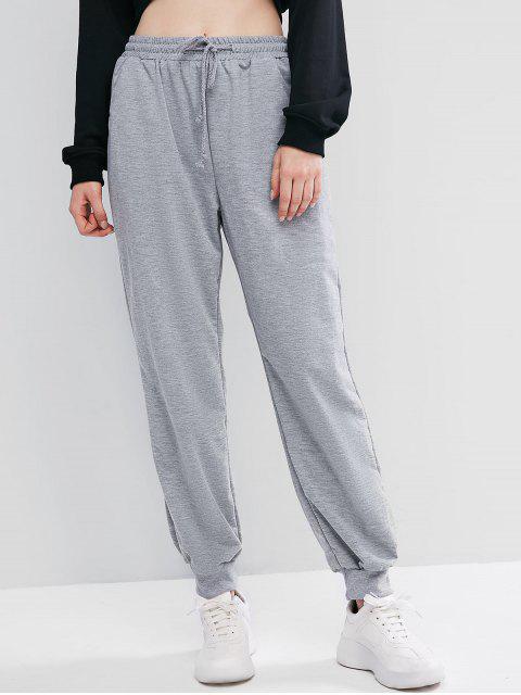 Pantalones Jogger de Cintura Elástica con Cordón - Gris S Mobile
