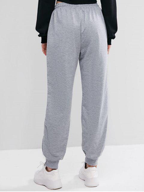 Pantalones Jogger de Cintura Elástica con Cordón - Gris L Mobile