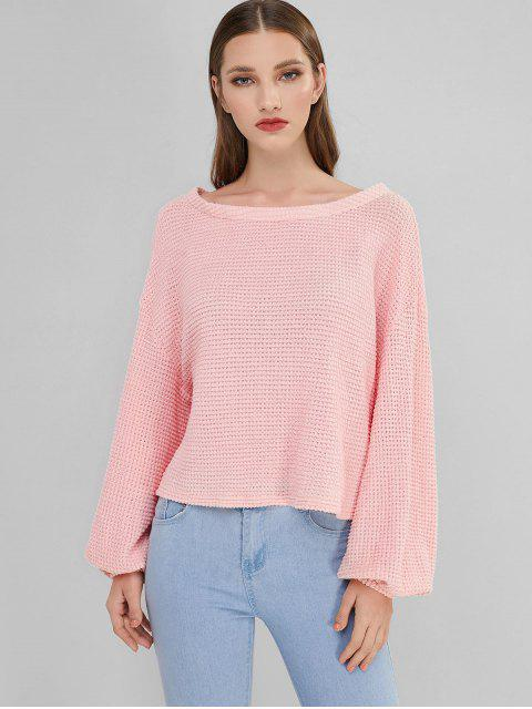 best ZAFUL Lantern Sleeve Boat Neck Sweater - ROSE L Mobile