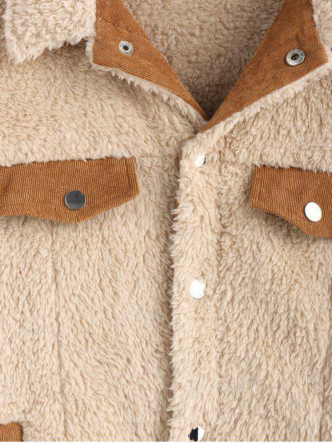 ZAFUL Corduroy Trim Künstliche Shearling Jacke - Warmweiß M Mobile