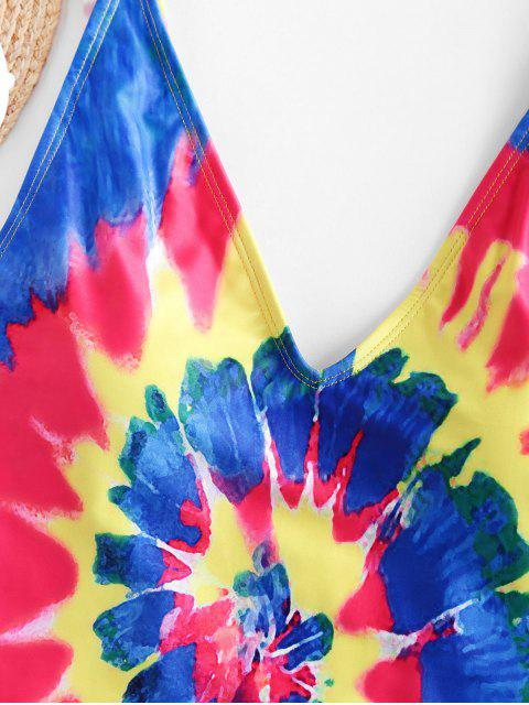 affordable ZAFUL Spiral Tie Dye Print High Cut One-piece Swimsuit - MULTI-A L Mobile