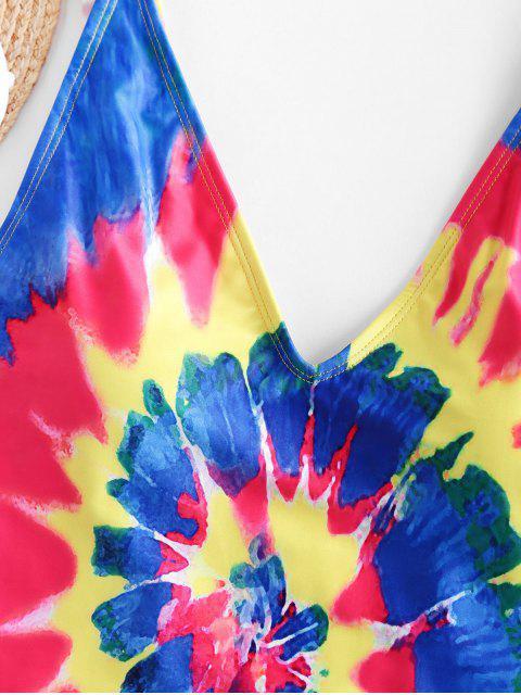 women ZAFUL Spiral Tie Dye Print High Cut One-piece Swimsuit - MULTI-A S Mobile