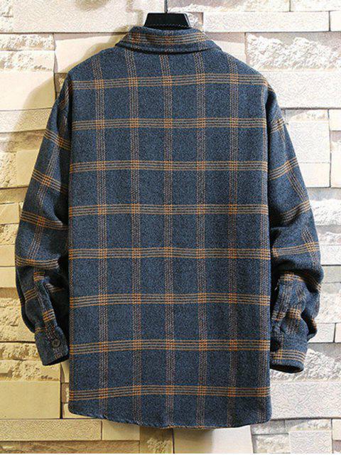 ladies Plaid Pattern Pocket Design Long-sleeved Shirt - LAPIS BLUE XL Mobile