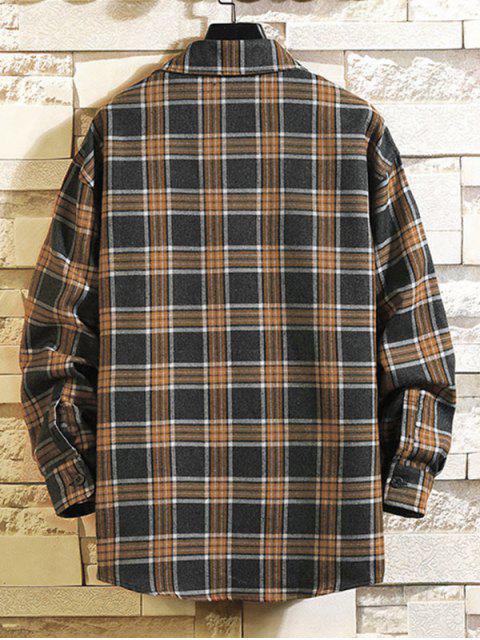 Kariertes Muster -Tasche- Stil- Langarm -Shirt - Kohle Grau L Mobile