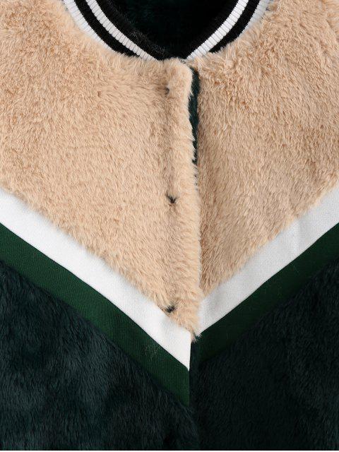 ZAFUL Farbblock Gespleißte Chevron Flauschige Künstliche Pelz Jacke - Multi-A S Mobile