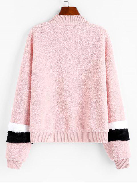 Spleißen Gestricktes Teddy Sweatshirt - Sakura Rosa XL Mobile