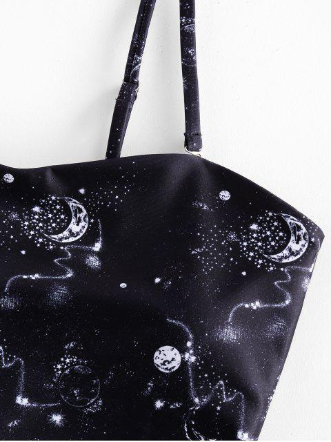 ZAFUL Planeta de impresión ata para arriba el traje de baño de Tankini de talle alto - Negro L Mobile