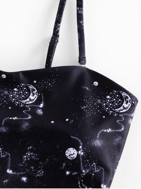 ZAFUL Planeta de impresión ata para arriba el traje de baño de Tankini de talle alto - Negro S Mobile