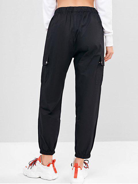 Einfarbige Joggerhose mit Taschen - Schwarz L Mobile