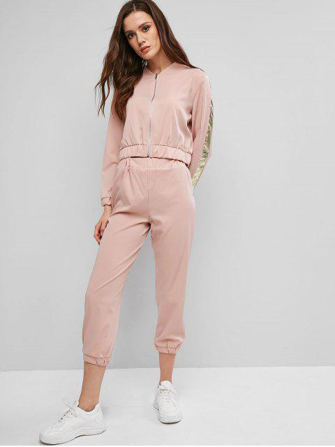 Lado de rayas con cremallera pantalones basculador Conjunto - Rosa M Mobile
