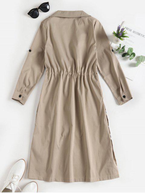 抽繩按鈕向上口袋裙邊風衣 - 輕卡其色 L Mobile