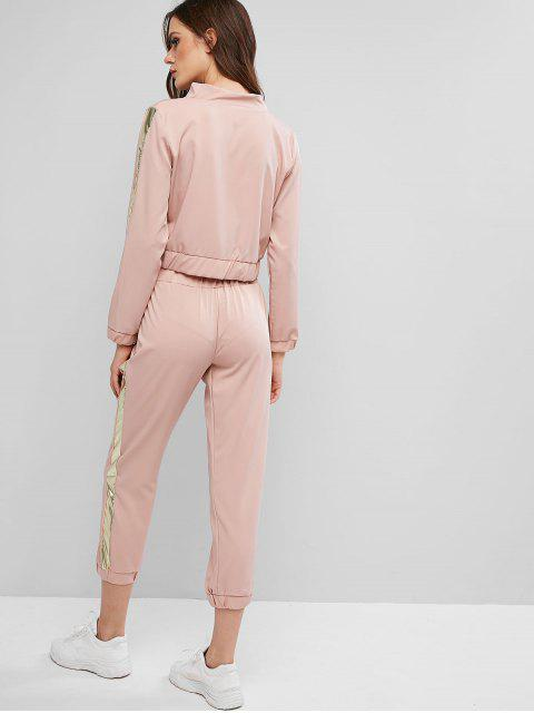 lady Side Striped Zip Up Jogger Pants Set - ROSE XL Mobile