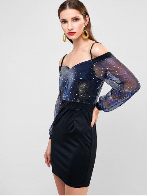 閃閃發光的星月亮閉門羹Bodycon晚禮服 - 黑色 XL Mobile