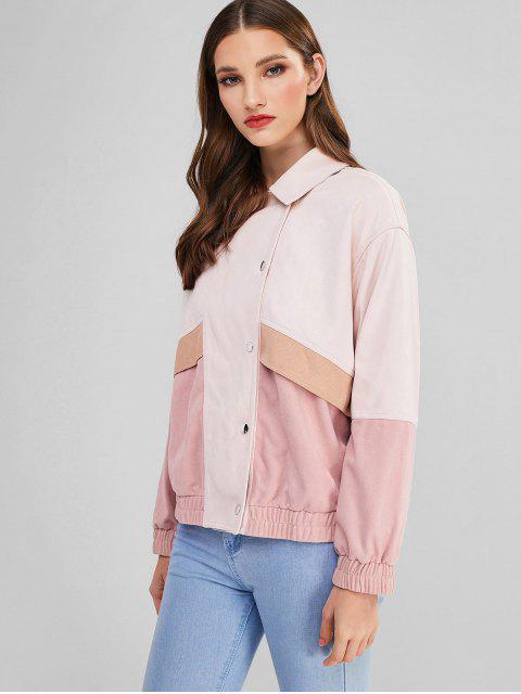 ZAFUL Künstliche Wildleder Kontrast Taschen Jacke - Rosa S Mobile