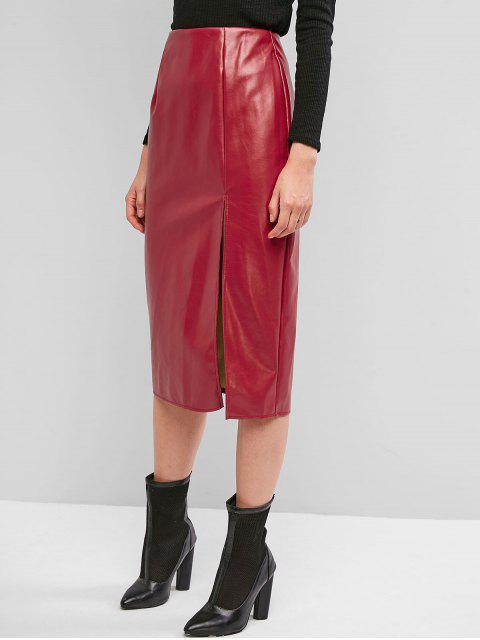 後拉鍊縫PU皮迷笛裙 - 豆紅 M Mobile