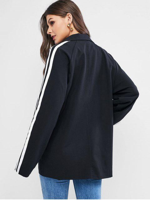 條紋帶插肩袖翻領大衣 - 黑色 One Size Mobile