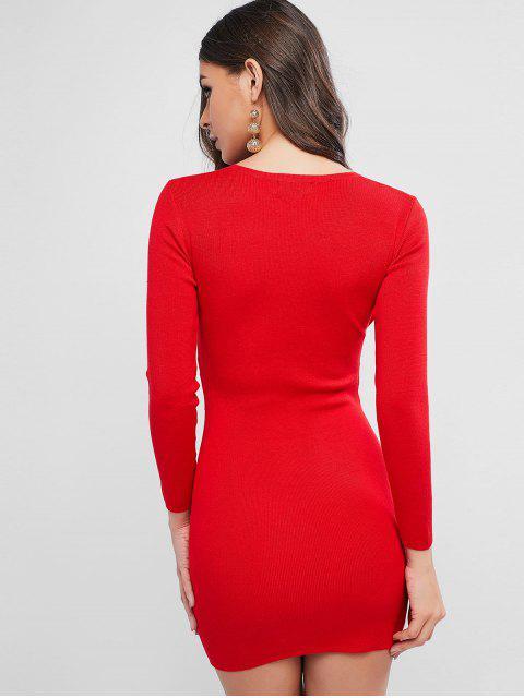 O-Ring-Gürtel Strickfigurbetontes Kleid - Rot Eine Größe Mobile