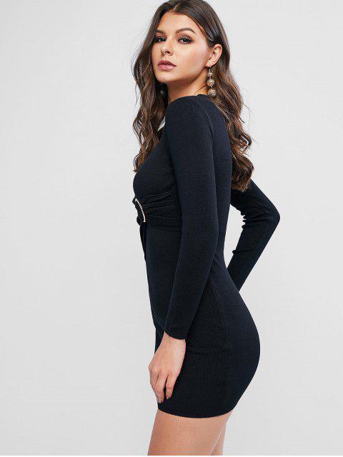 O型圈帶針織連衣裙Bodycon - 黑色 One Size Mobile