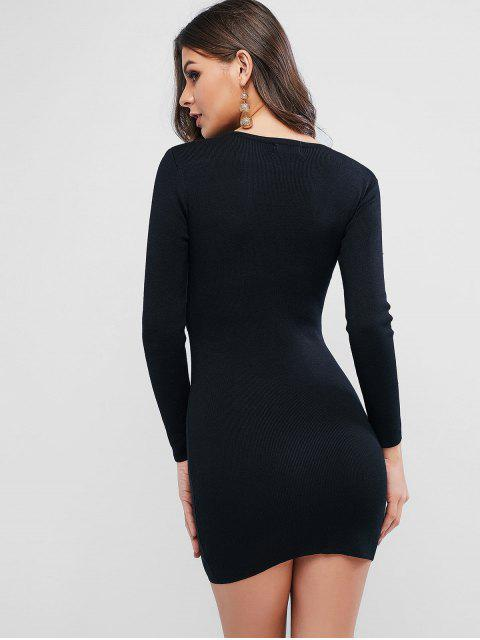 shops O Ring Belt Knitted Bodycon Dress - BLACK ONE SIZE Mobile