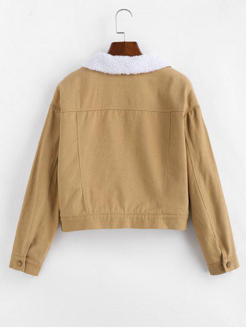 best ZAFUL Fleece Lining Drop Shoulder Button Up Jacket - KHAKI M Mobile