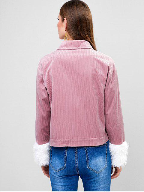 ZAFUL Jacke aus Kord mit Bündchen - Lippenstift Rosa XL Mobile