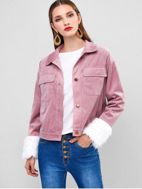 ZAFUL燈芯絨仿毛皮袖口口袋外套 - 口紅粉紅色 L Mobile