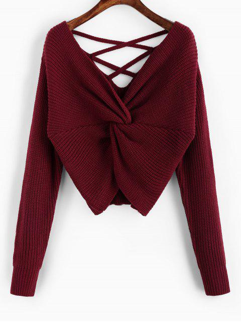 lady ZAFUL Twisted Criss Cross Drop Shoulder Sweater - RED WINE M Mobile