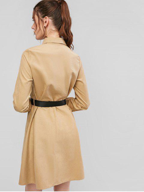 unique Button Down Long Sleeve Belted Shirt Dress - LIGHT KHAKI M Mobile