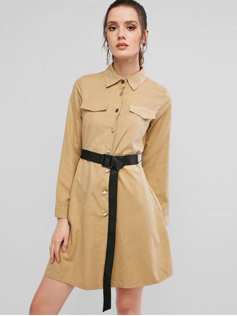 按鈕按下長袖束帶襯衫裙 - 輕卡其色 XL Mobile
