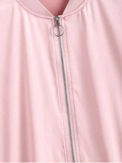 womens ZAFUL Zip Front Racing Stripes Bomber Jacket - PINK M Mobile