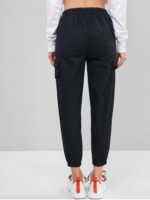 shop Distressed Letter Cargo Jogger Pants - BLACK XL Mobile
