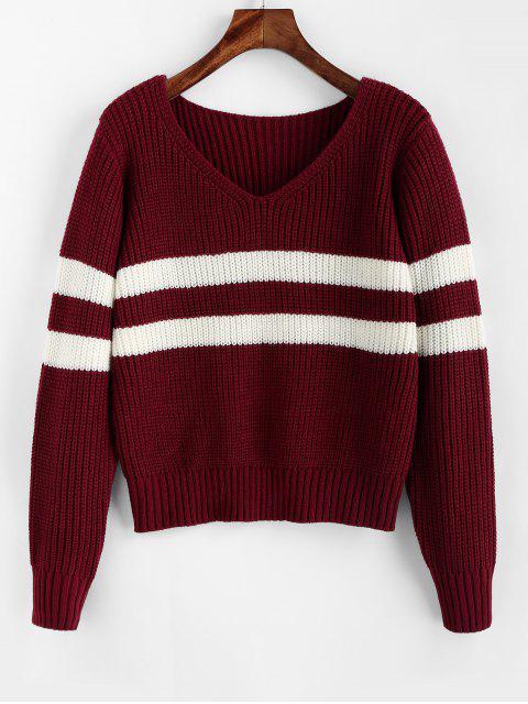 ZAFUL Streifen V-Ausschnitt Pullover - Roter Wein S Mobile