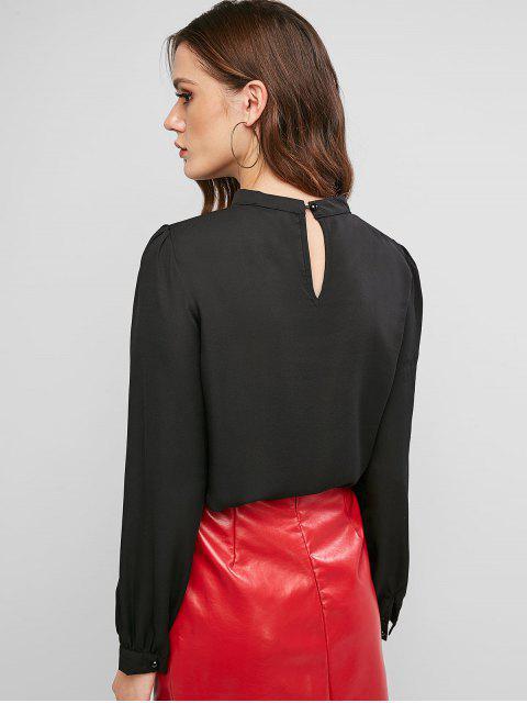 fashion Keyhole Back Mock Button Crew Neck Blouse - BLACK L Mobile